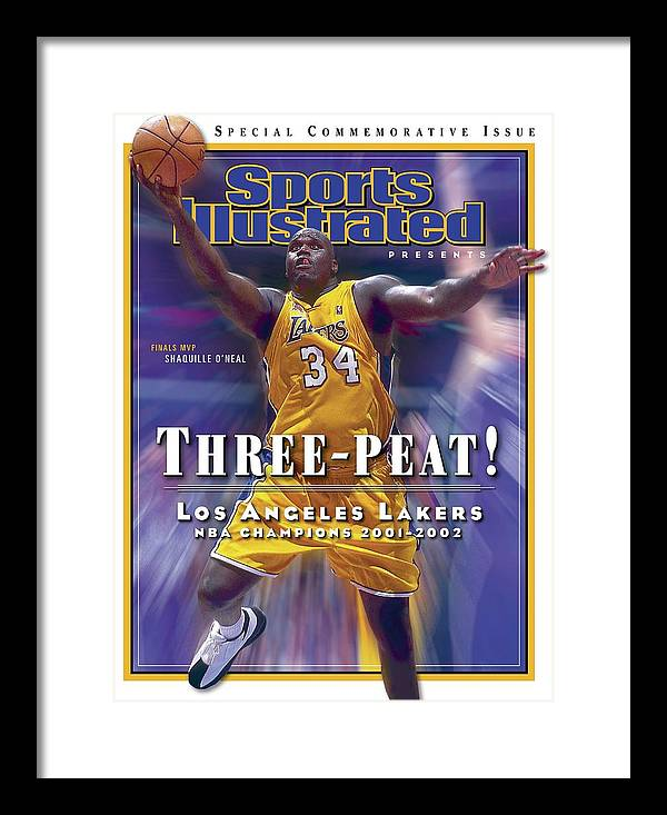 Magazine Cover Framed Print featuring the photograph Los Angeles Lakers Shaquille Oneal, 2001 - 2002 Nba Sports Illustrated Cover by Sports Illustrated