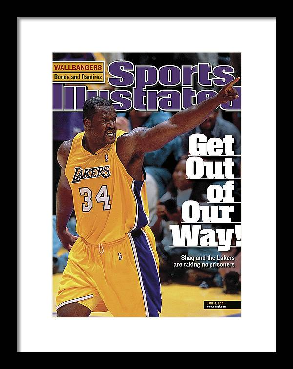 Magazine Cover Framed Print featuring the photograph Los Angeles Lakers Shaquille Oneal, 2001 Nba Western Sports Illustrated Cover by Sports Illustrated