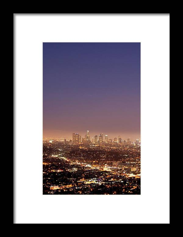 Scenics Framed Print featuring the photograph Los Angeles Skyline At Twilight by Uschools