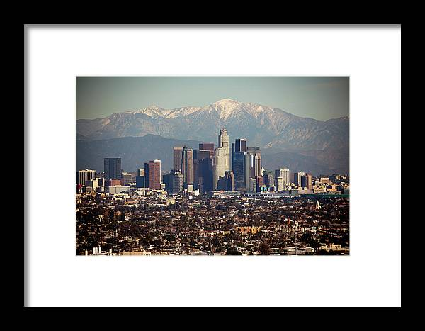 Downtown District Framed Print featuring the photograph Los Angeles Skyline With Snow Capped by Sterling Davis Photo