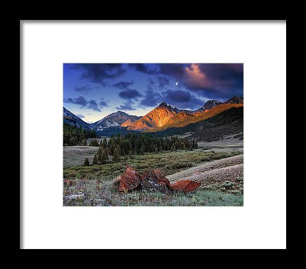 Idaho Scenics Framed Print featuring the photograph Lost River Mountains Moon by Leland D Howard