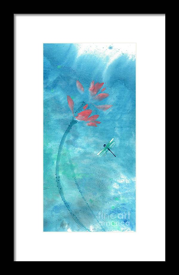 An Elegant Dragonfly Dotting Among Lotus Flowers On A Breezy Pond. The Painting Is Done With Watercolor On Rice Paper By Mui-joo Wee In Simple Contemporary Brush Strokes Framed Print featuring the painting Lotus and dragonfly by Mui-Joo Wee