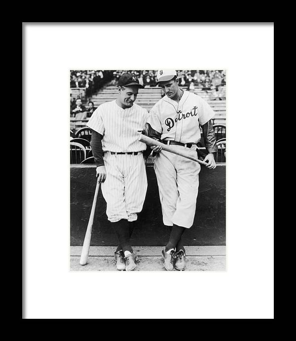 Baseball Cap Framed Print featuring the photograph Lou And Hank by Fpg