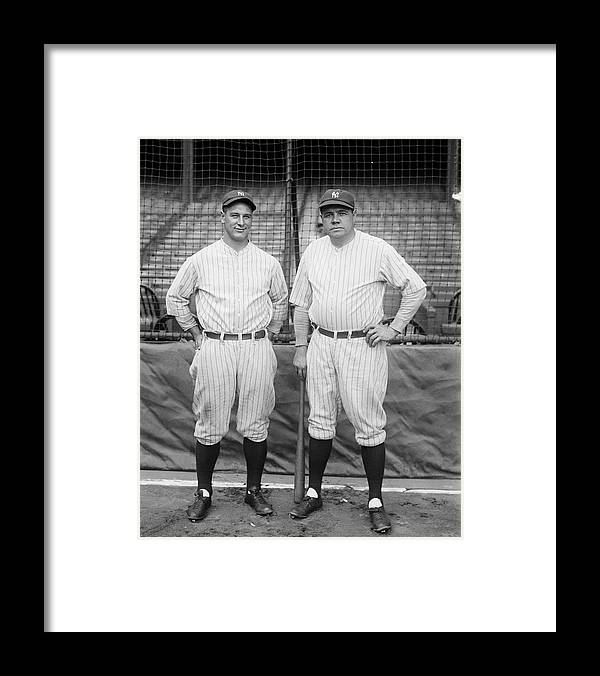 People Framed Print featuring the photograph Lou Gehrig And Babe Ruth by Bettmann