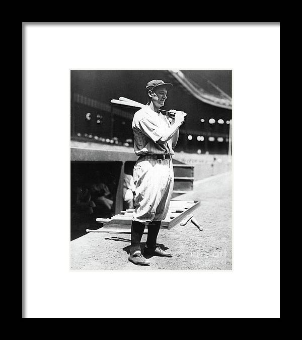 People Framed Print featuring the photograph Lou Gehrig Before The Game by Transcendental Graphics