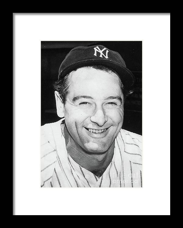 People Framed Print featuring the photograph Lou Gehrig Close Portrait by Transcendental Graphics