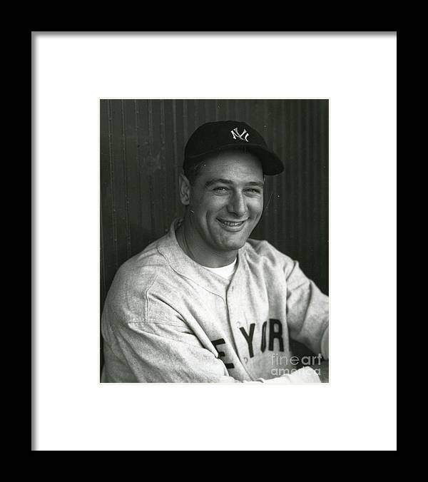 People Framed Print featuring the photograph Lou Gehrig Dugout Portrait by Transcendental Graphics