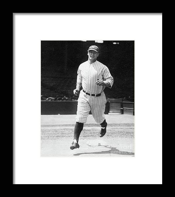 People Framed Print featuring the photograph Lou Gehrig Working Out by Transcendental Graphics