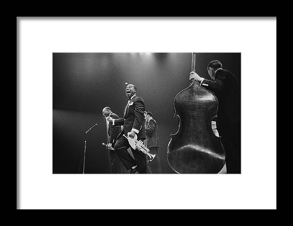 Singer Framed Print featuring the photograph Louis Armstrong On Stage by Haywood Magee