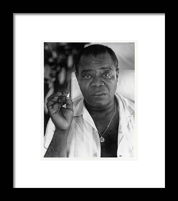 People Framed Print featuring the photograph Louis Armstrong Portrait by Herb Snitzer