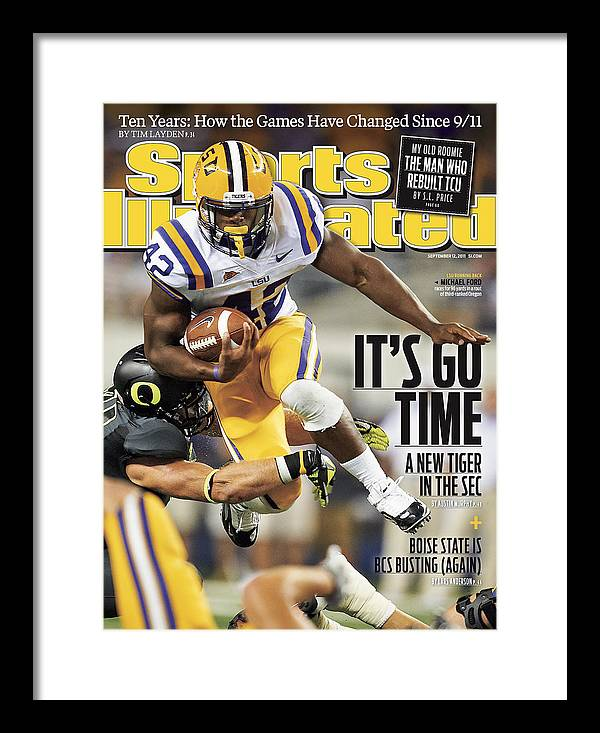 Magazine Cover Framed Print featuring the photograph Louisiana State University Vs University Of Oregon Sports Illustrated Cover by Sports Illustrated