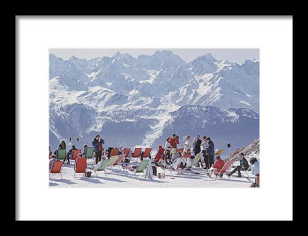 People Framed Print featuring the photograph Lounging In Verbier by Slim Aarons