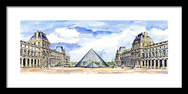 Louvre Museum Framed Print featuring the painting Louvre Museum by ArtMarketJapan