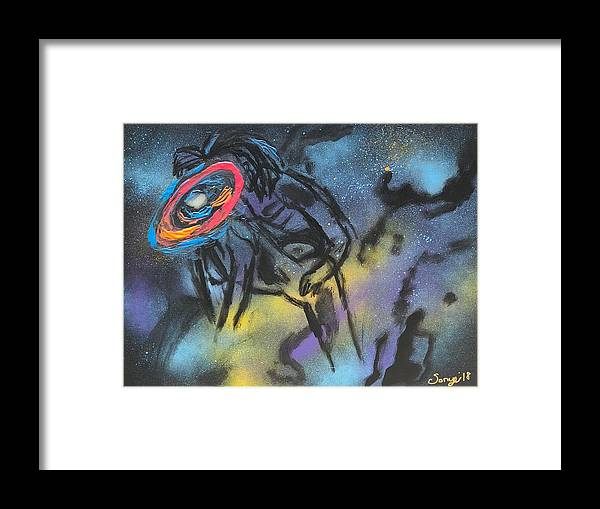 Love Framed Print featuring the mixed media Love thru the stars by Sonye Locksmith