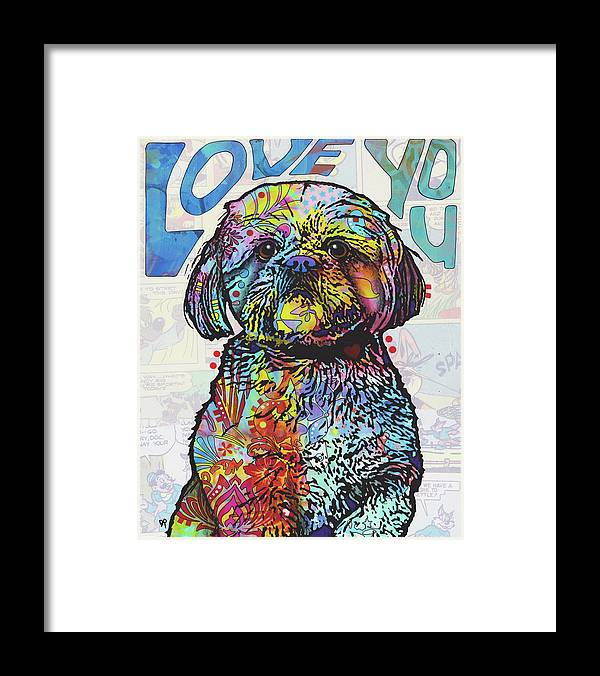 Love You Shih Tzu Framed Print featuring the mixed media Love You Shih Tzu by Dean Russo