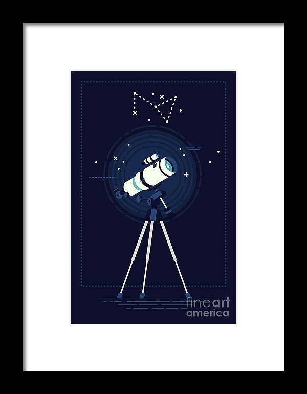 Big Framed Print featuring the digital art Lovely Vector Background On Astronomy by Mascha Tace