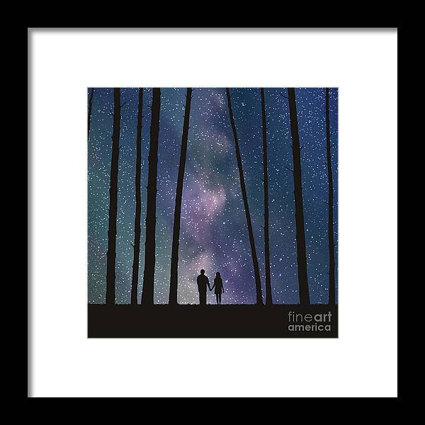 Love Framed Print featuring the digital art Lovers In Forest. Vector Illustration by Arvitalyaa