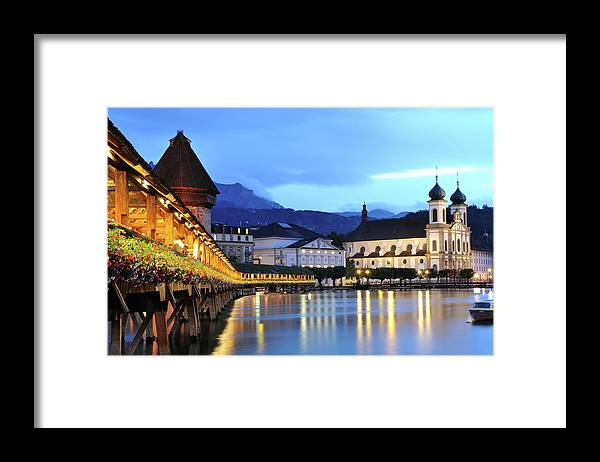 Built Structure Framed Print featuring the photograph Lucerne At Dusk by Aimintang