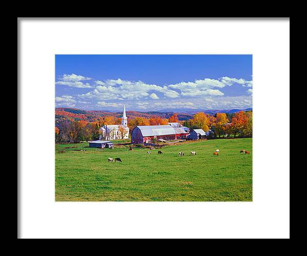 Scenics Framed Print featuring the photograph Lush Autumn Countryside In Vermont With by Ron thomas