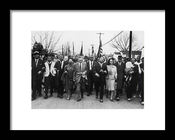 Marching Framed Print featuring the photograph Luther King Marches by William Lovelace