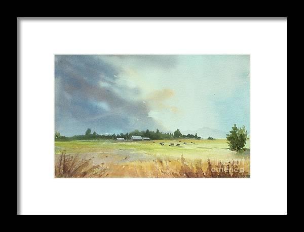 Lynden Framed Print featuring the painting Lynden Farm, Wa by Yohana Knobloch