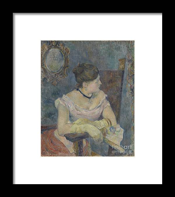 Paul Gauguin Framed Print featuring the drawing Madame Mette Gauguin In Evening Dress by Heritage Images
