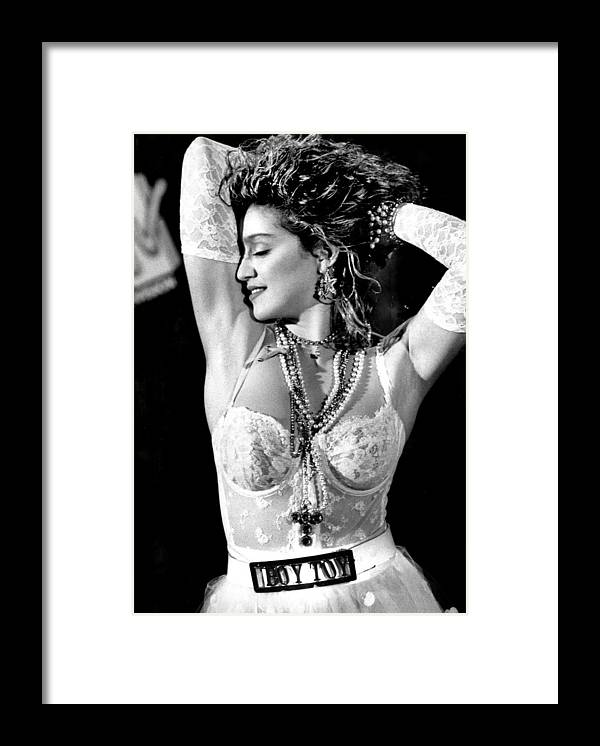 1980-1989 Framed Print featuring the photograph Madonna During A Performance At Mtv by New York Daily News Archive