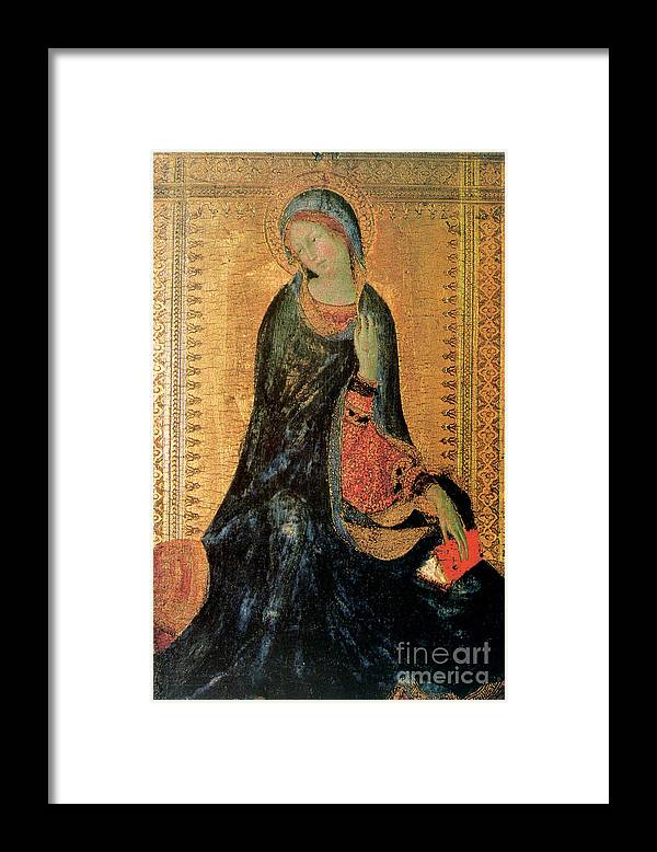 Gothic Style Framed Print featuring the drawing Madonna Of The Annunciation by Print Collector