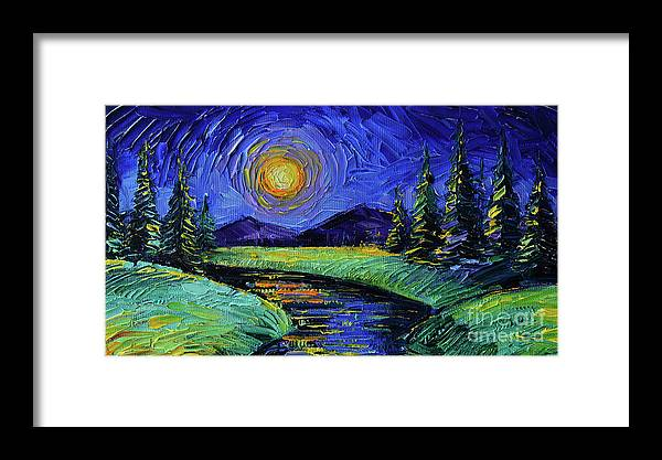 Magic Night Framed Print featuring the painting Magic Night - Detail 1 - Fantasy Landscape by Mona Edulesco