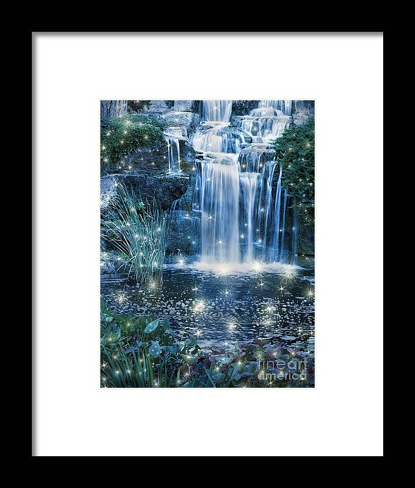 Magic Framed Print featuring the photograph Magic Night Waterfall Scene by Alex Hubenov