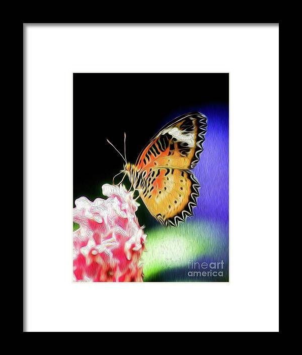 Butterfly Framed Print featuring the digital art Malay Lacewing Butterfly I by Kenneth Montgomery