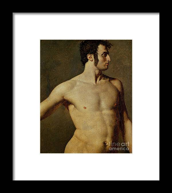 Oil Painting Framed Print featuring the drawing Male Torso. Artist Ingres, Jean Auguste by Heritage Images