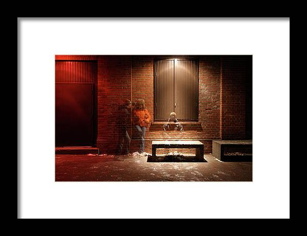 Mature Adult Framed Print featuring the photograph Man And Woman Leaning Against A Brick by Lori Andrews