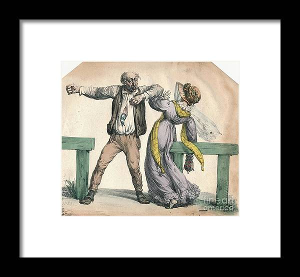 Engraving Framed Print featuring the drawing Man Attacking A Woman by Print Collector