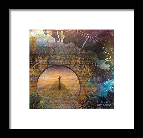 Door Framed Print featuring the digital art Man On Path And Doorway With Aged Clock by Bruce Rolff