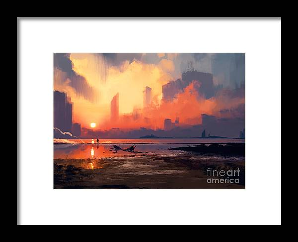 Sunrise Framed Print featuring the digital art Man On Sea Beach Looking At Skyscrapers by Tithi Luadthong