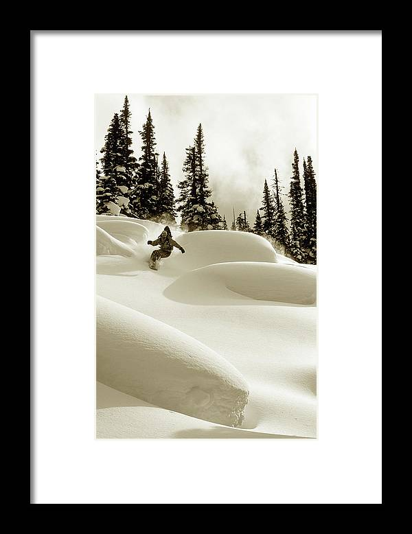 One Man Only Framed Print featuring the photograph Man Snowboarding B&w Sepia Tone by Per Breiehagen