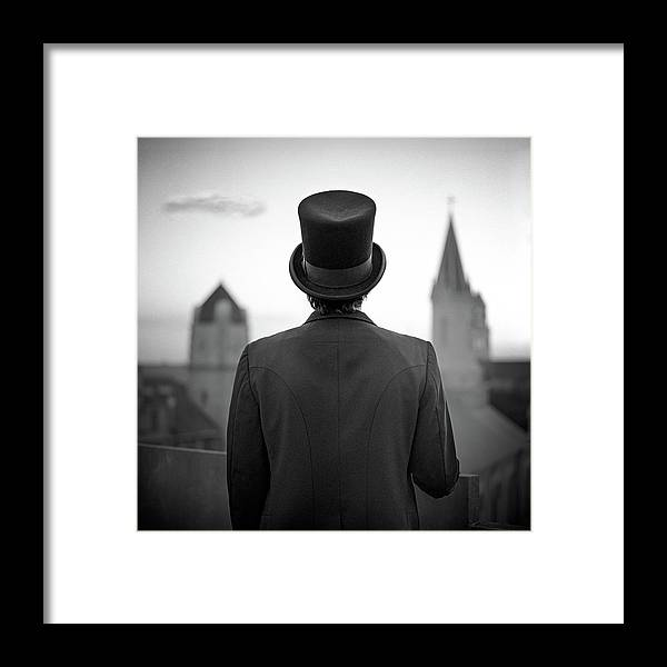 People Framed Print featuring the photograph Man Standing Front Of Cathedral by Eddie O'bryan