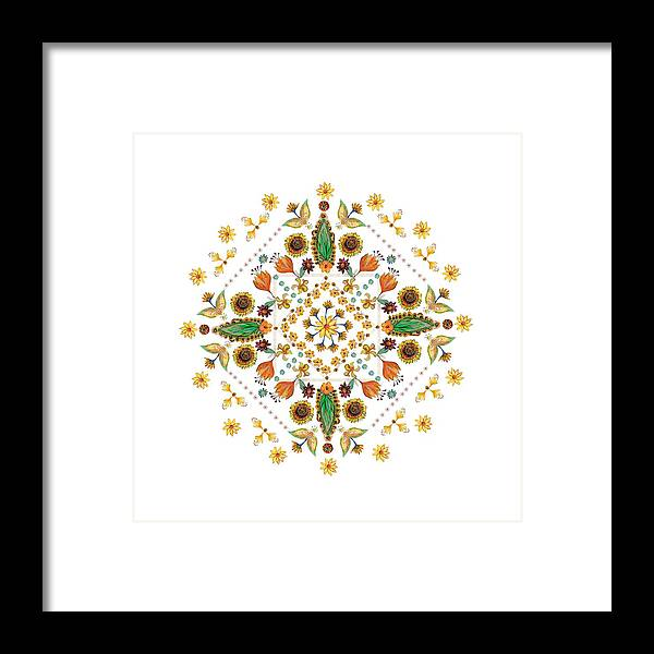 Mandala Framed Print featuring the digital art Mandala Flowering Series#2. White by Elena Kotliarker