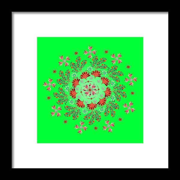 Mandala Framed Print featuring the digital art Mandala Flowering Series#3. Green by Elena Kotliarker