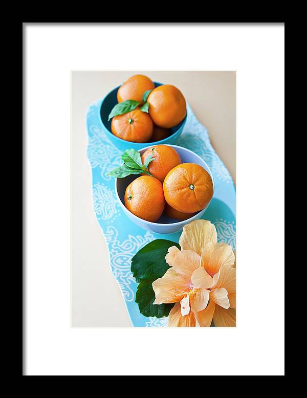Florida Framed Print featuring the photograph Mandarin Oranges On A Platter by Pam Mclean