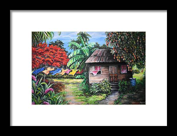 Old House Framed Print featuring the painting Mango Season by Karin Dawn Kelshall- Best