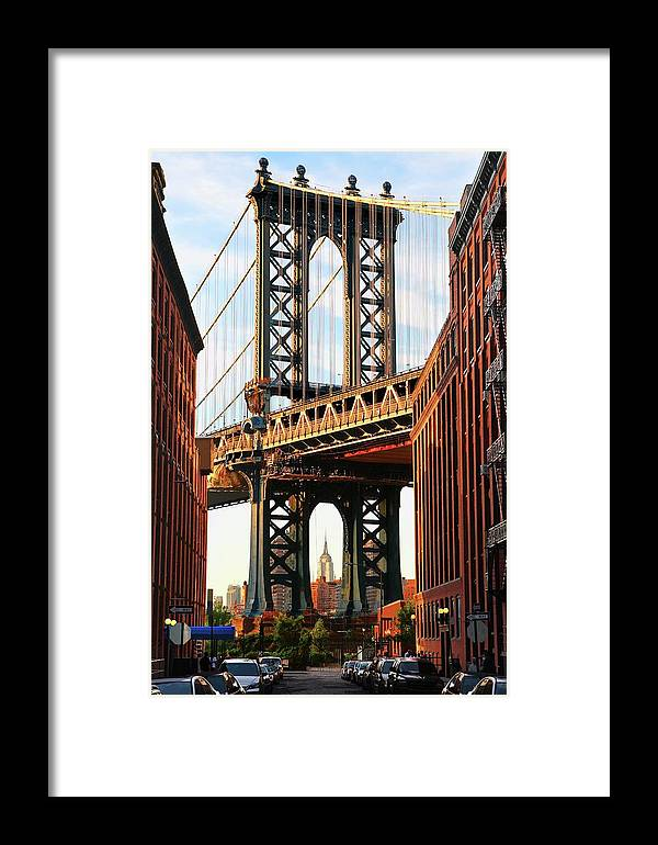 Built Structure Framed Print featuring the photograph Manhattan Bridge, Brooklyn, New York by Visions Of Our Land