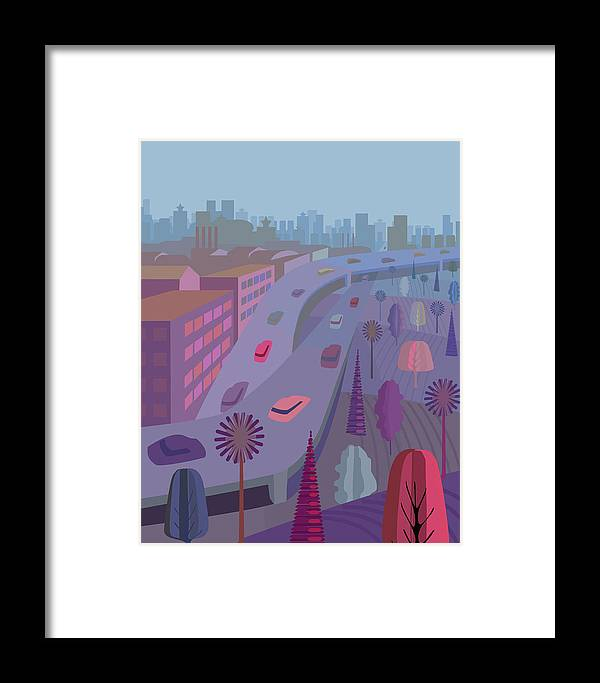 Outdoors Framed Print featuring the digital art Manhattan, Illustration And Painting by Charles Harker
