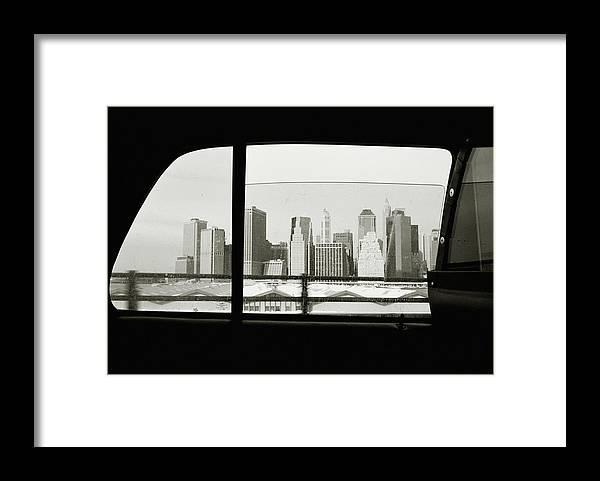 Car Interior Framed Print featuring the photograph Manhattan Through Car Window by Matt Carr