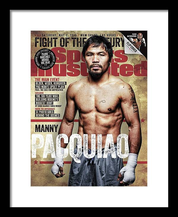Event Framed Print featuring the photograph Manny Pacquiao, 2015 Wbawbcwbo Welterweight Title Preview Sports Illustrated Cover by Sports Illustrated