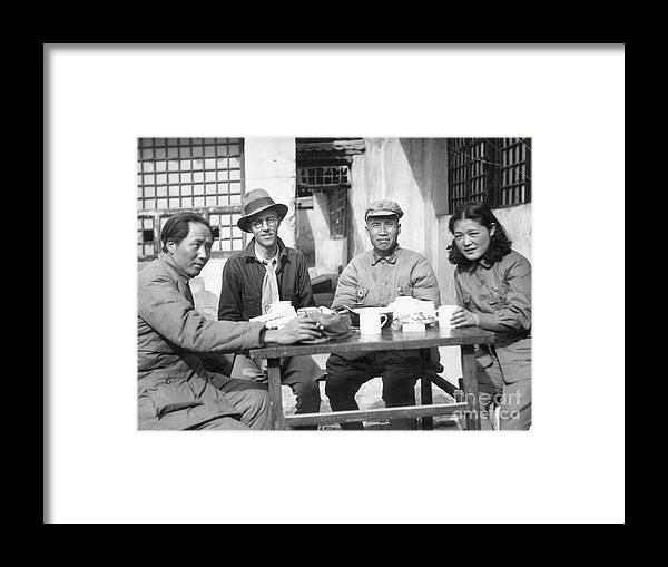 Zhu De Framed Print featuring the photograph Mao Tse Tung, Wife, Others Seated At Tab by Bettmann