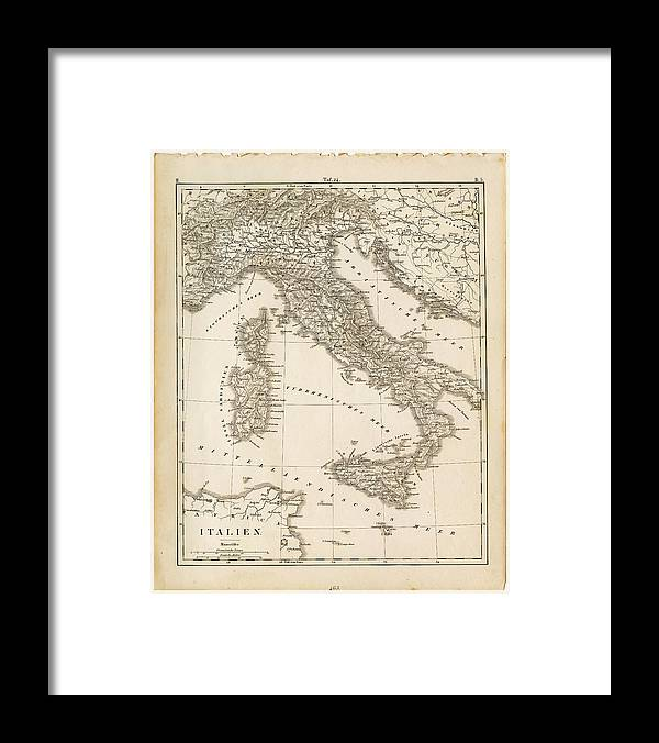 Sicily Framed Print featuring the digital art Map Italy 1840 by Thepalmer