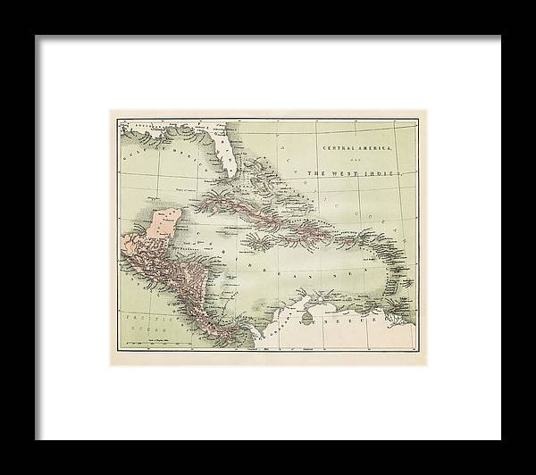 Barbados Framed Print featuring the digital art Map Od The Caribbean 1860 by Thepalmer
