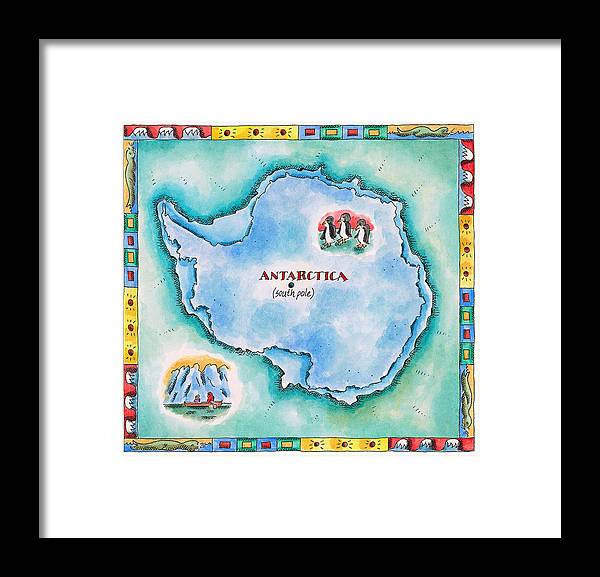 Watercolor Painting Framed Print featuring the digital art Map Of Antarctica by Jennifer Thermes